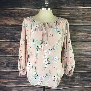 YUM KIM 100% SILK Floral Spring Summer ROSE Top M